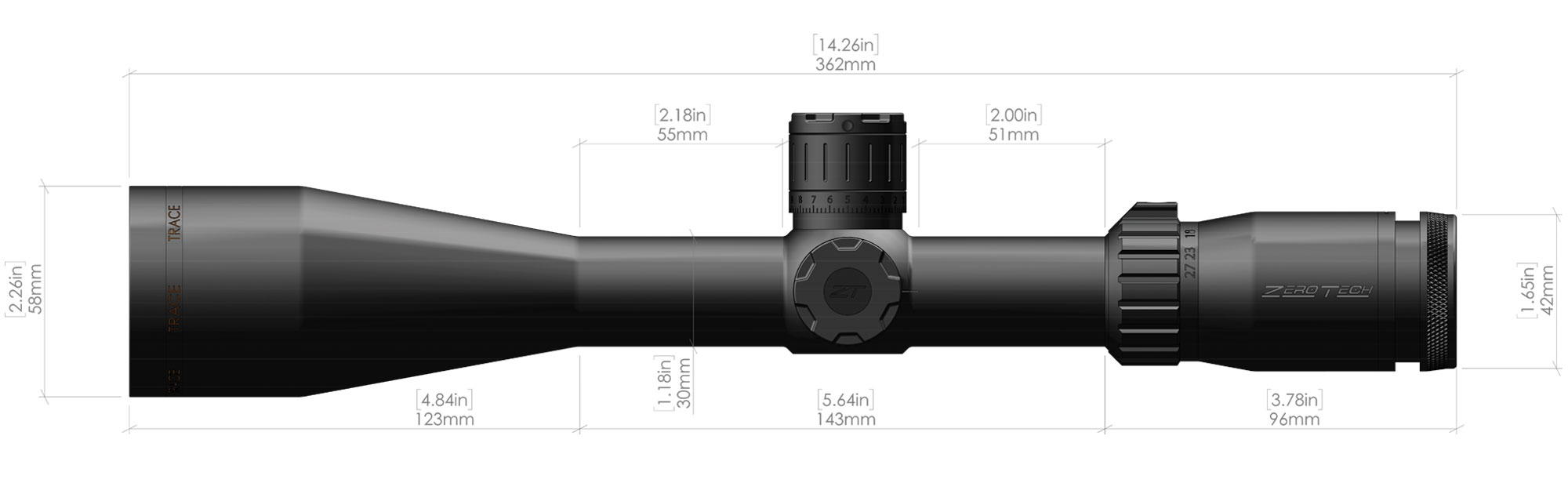 4.5-27X50mm-Trace-Riflescope-Dimensions